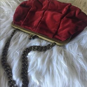 j. Crew velvet burgundy small purse golden chain